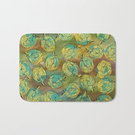 Artichokes on Green and Brown Background Bath Mat