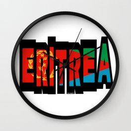 Eritrea Font with Eritrean Flag Wall Clock