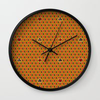 suits Wall Clocks featuring Card Suits by minemory