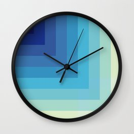 The Depth - Blue Abstract Retro Style Stripes 3D Look Wall Clock
