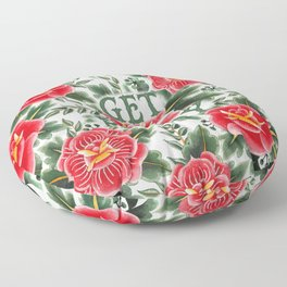 Get Ready - Vintage Floral Tattoo Collection Floor Pillow