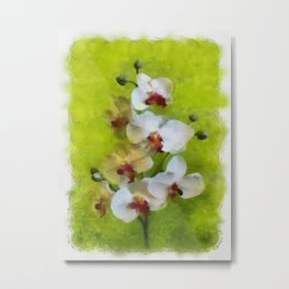White Orchid on Green background Metal Print