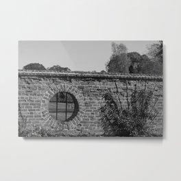 Round Window bw Metal Print