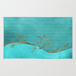 Gold and Turquoise Pattern Rug