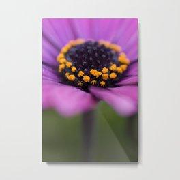 Pink flower, yellow black heart Metal Print