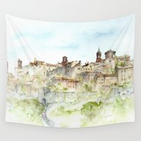 italy Wall Tapestries featuring Lucignano, Italy by zawij
