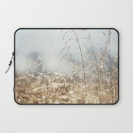 Gold Blue Sparkle Nature Photography, Dew Drop Grass Brown, Morning Water Dewdrops, Magical Bokeh Laptop Sleeve