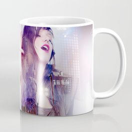beautiful woman listening to music and singing with live music background Coffee Mug
