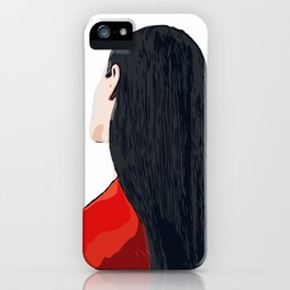 White and Red Girl with Long Hair Minimalist Vector Illustration Portrait iPhone Case