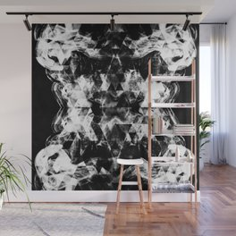 Electrifying black and white sparkly triangle flames Wall Mural