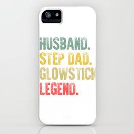 Funny Men Vintage T Shirt Husband Step Dad Glowstick Legend iPhone Case