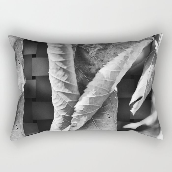Large Black and White Curled Leaves and Geometric Tile Rectangular Pillow