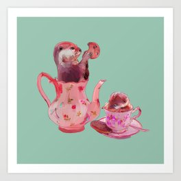 Otter Tea and Biscuits Art Print