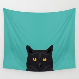 Cat head black cat peeking gifts for cat lovers pet portraits Wall Tapestry