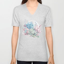 Beautiful Succulents Full Moon Teal Pink Unisex V-Neck