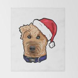 Irish Soft Coated Wheaten Terrier Dog Christmas Hat Throw Blanket