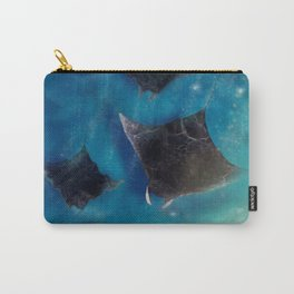 Playful Manta rays_ Sealife Pacific Ocean waves_digital painting  Carry-All Pouch