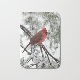 Wet Snow Cardinal (vertical) Bath Mat