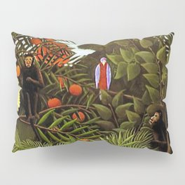 Exotic Jungle Landscape with Monkeys and Birds by Henri Rousseau Pillow Sham