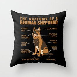 German Shepherd Anatomy Throw Pillow