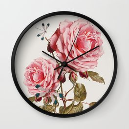 Dragonflies and Roses Wall Clock