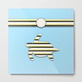 Sea Tortoise Blue and Yellow Stripe Pattern Design Metal Print