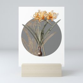 Vintage Golden Hurricane Lily Botanical Illustration on Circle Mini Art Print