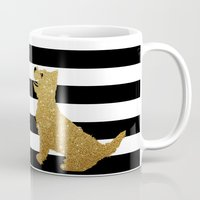 westie Mugs featuring Highland Westie terrier dog in golden glitter by ialbert