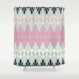 Decorative Plumes - Pink Cream Black on Green Shower Curtain