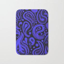 Handpainted Paisley Pattern Purple and Black Color Bath Mat