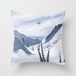 'Chads Gap' Iconic Snowboarding Moments Throw Pillow