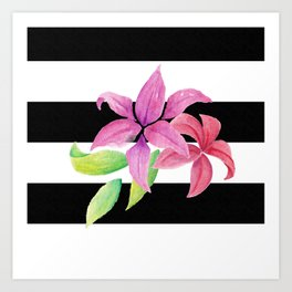 Stripes & Flowers Art Print