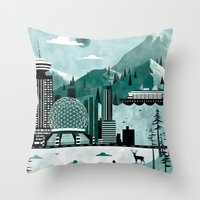travel poster Throw Pillows featuring Vancouver Travel Poster Illustration by ClaireIllustrations