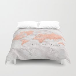 """Adventure awaits world map in rose gold and marble, """"Janine"""" Duvet Cover"""
