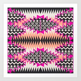 Tribal Beat Geo Magenta Art Print