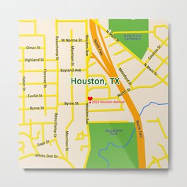 Map of Houston TX #2 Metal Print