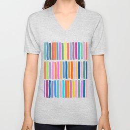 Bright Whimsical Rainbow Stripes Unisex V-Neck
