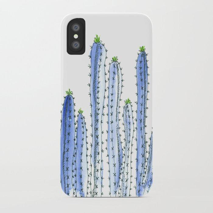 Blue Cactus Watercolor Illustration iPhone Case