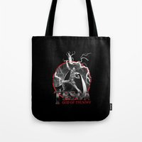 tesla Tote Bags featuring Tesla: God of Thunder by The Cracked Dispensary