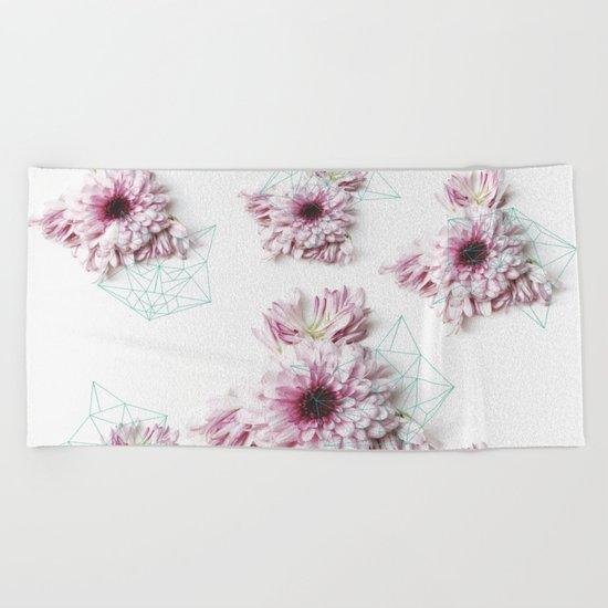 Geometry pastel flowers Beach Towel