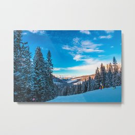 Winter sunset in the italian alps Metal Print