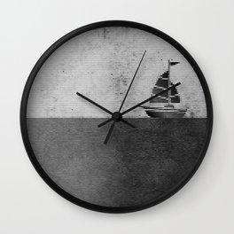 Ship puzzle bw Wall Clock