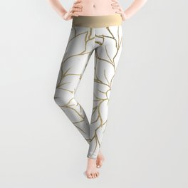 Gold faux foil chic floral elegant pattern Leggings