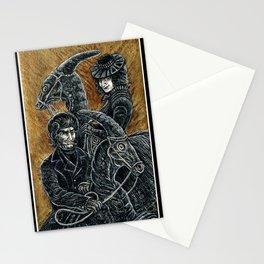"""Victorians Riding Dinosaurs - Parasaurolophus"" Stationery Cards"