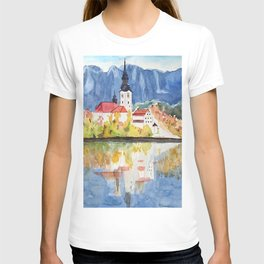 Church of the Assumption in Lake Bled Slovenia T-shirt