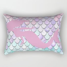 Mermaid Silhouette, Pastel Pink, Purple, Teal Rectangular Pillow