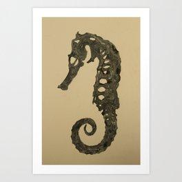 Seahorse Skeleton Art Print