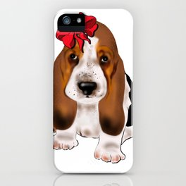 Cute puppy girl with red bow .Dog lovers gift idea  iPhone Case