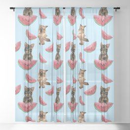 Kittens and sweet watermelon Sheer Curtain