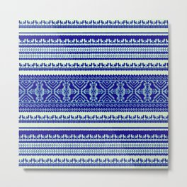 nordic pattern with singing birds in blue Metal Print